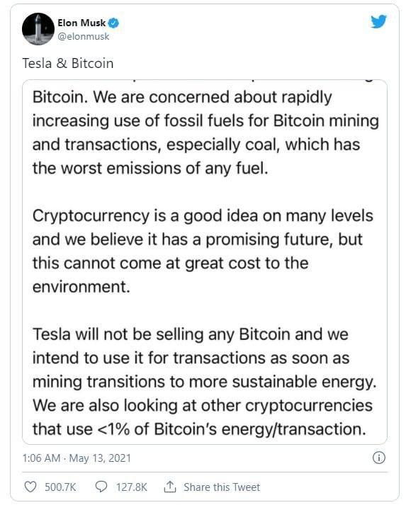 Elon Musk BTC tweet